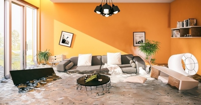Flooded Living Room - Flood and Water Damage Restoration Company in Utah