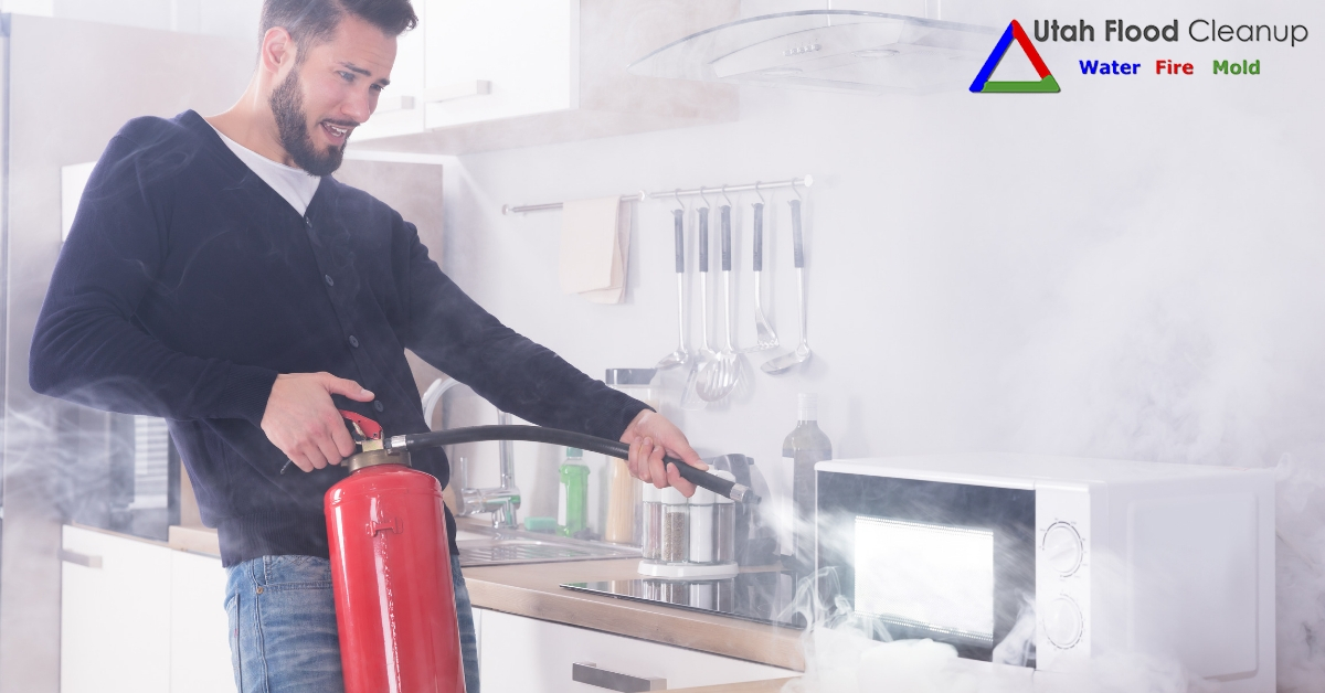 Extinguishing a fire in the Kitchen - Utah Flood Cleanup