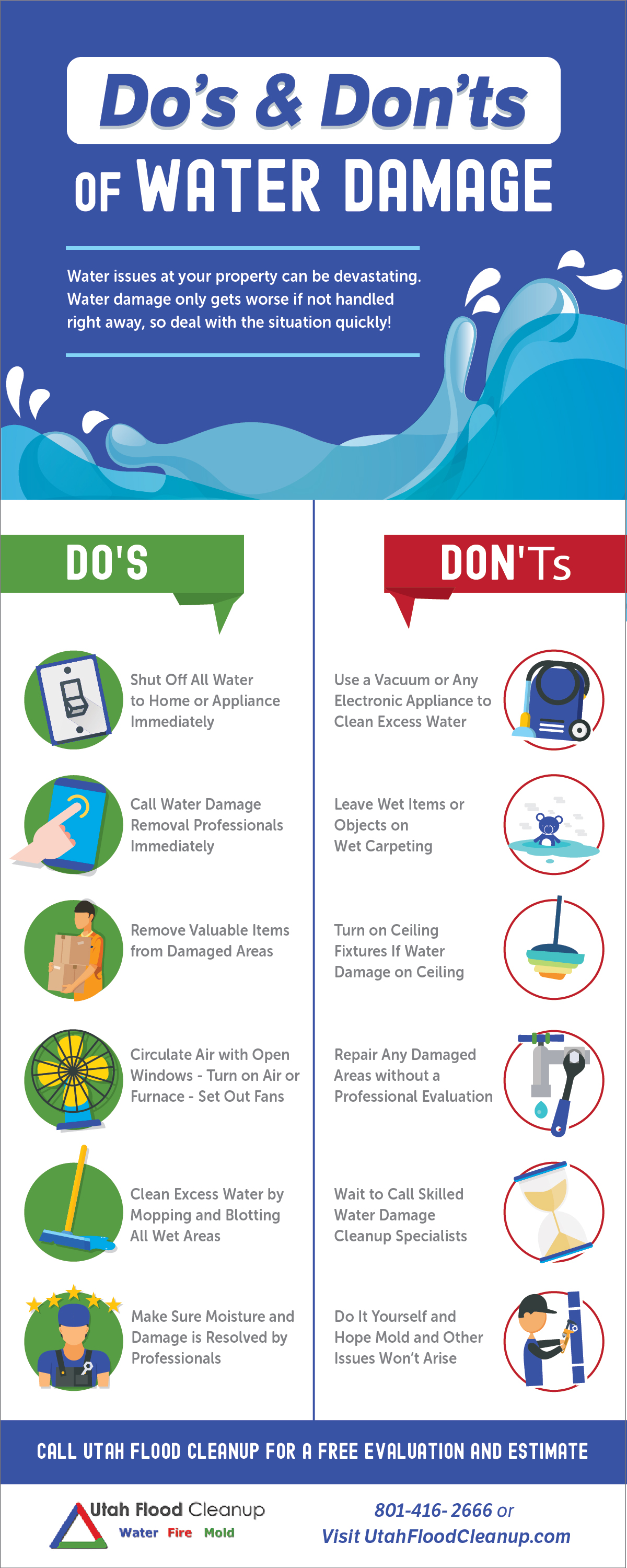 Water Damage Repair Dos Donts of Water Damage UtahFloodCleanup infographic 1