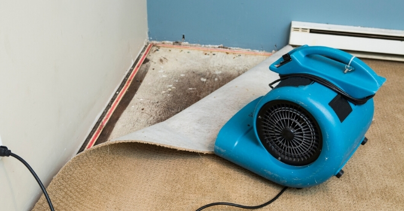 Using Blower to Dry Water Flood Damage