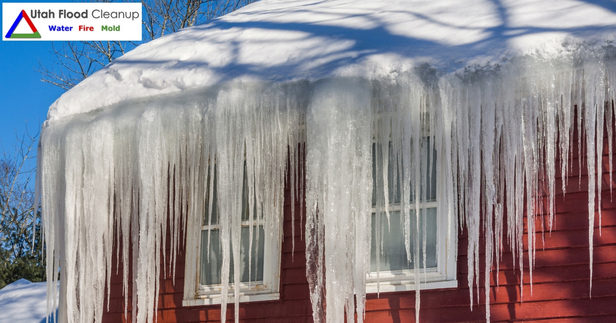 Home with huge Icicles - Residential Winter Water Damage Repair and Restoration in Utah